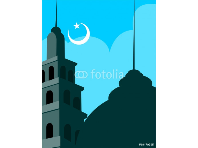 Papier peint moderne Illustrations of mosque with domes, stars and moon 64238