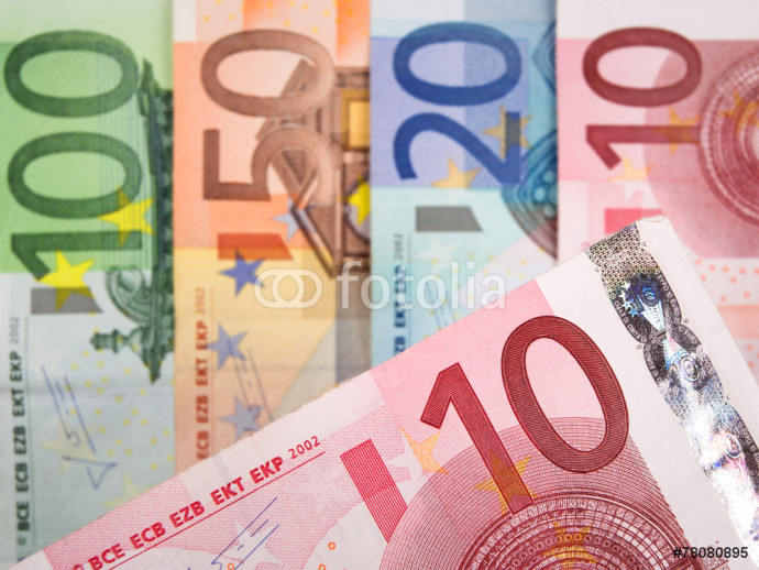 Close up of Euro banknotes with 10 Euros in focus 64238