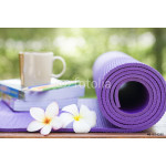 yoga mat and a cup of coffee 64238