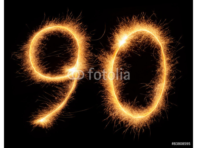 """90"" number drawn with bengali sparkles 64238"