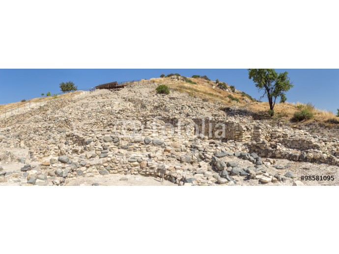 Panorama of Choirokoitia (Khirokitia ) Neolithic Settlement of 7-4-th millennium B.C. with age indicatind tables. World Heritage Site by UNESCO. Cyprus. 64238