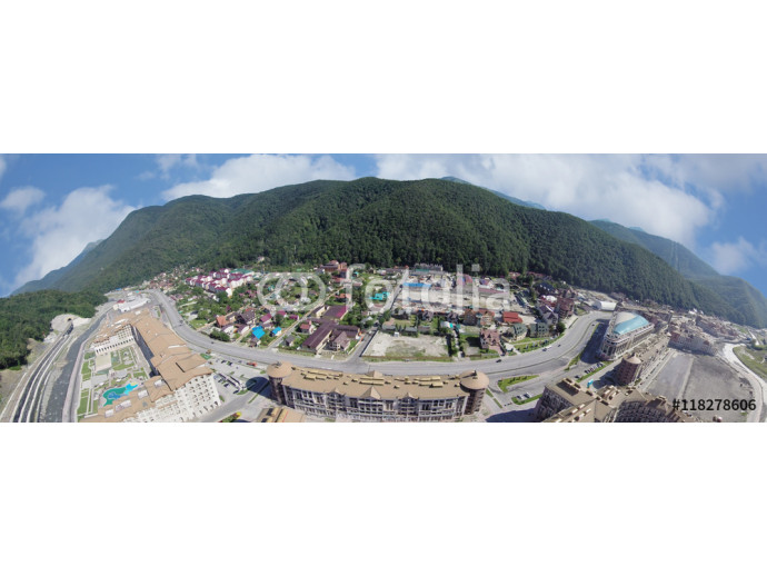 Landscape of the Caucasus mountains and ski resort of Gorki Gorod in Krasnaya Polyana, aerial view 64238