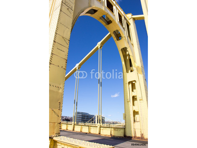 Yellow Bridge Arch - Arch of a Yellow Painted Iron Suspension Bridge That Crosses the Allegheny River Toward Downtown Pittsburgh Pennsylvania 64238