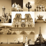 paris collage of the most famous monuments and landmarks 64238
