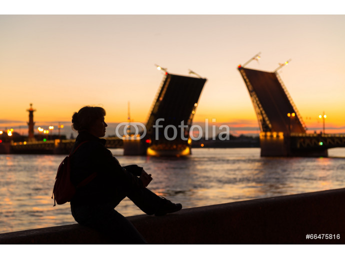Young female tourist near Palace Bridge in St Petersburg 64238