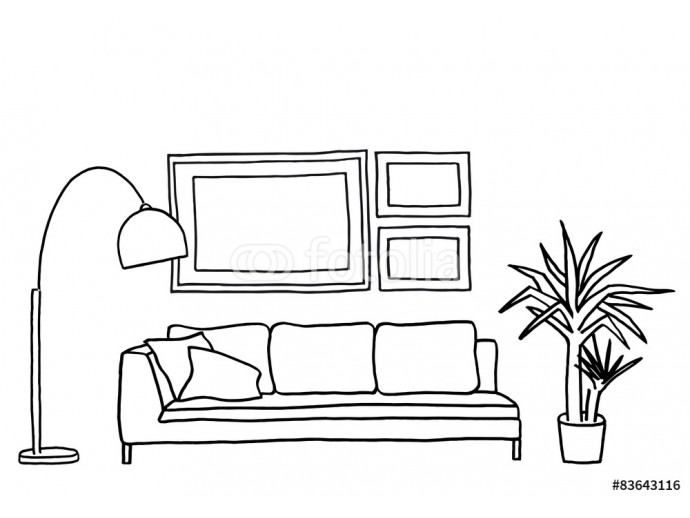 Photo wallpaper couch and blank picture frames, vector mock-up 64238