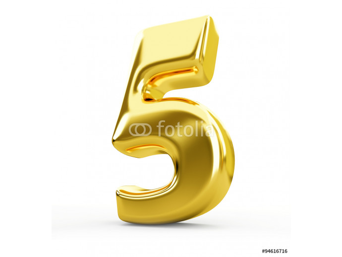 3d gold metal number 5 five isolated white background 64238