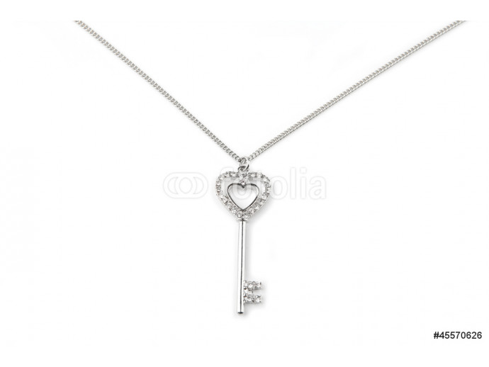 Silver key pendant necklace, Isolated on white 64238