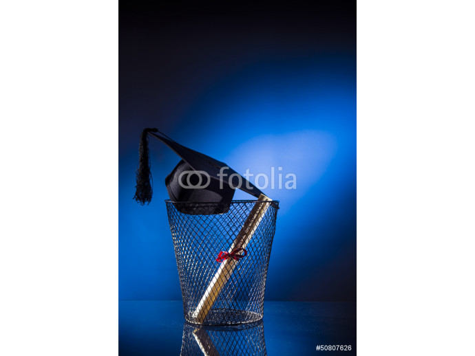 school drop out concept with hat and diploma 64238