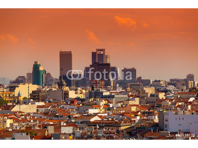 Madrid Skyline with skyscrapers at Sunset 64238