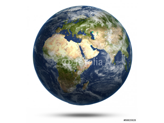 Planet Earth white isolated 64238