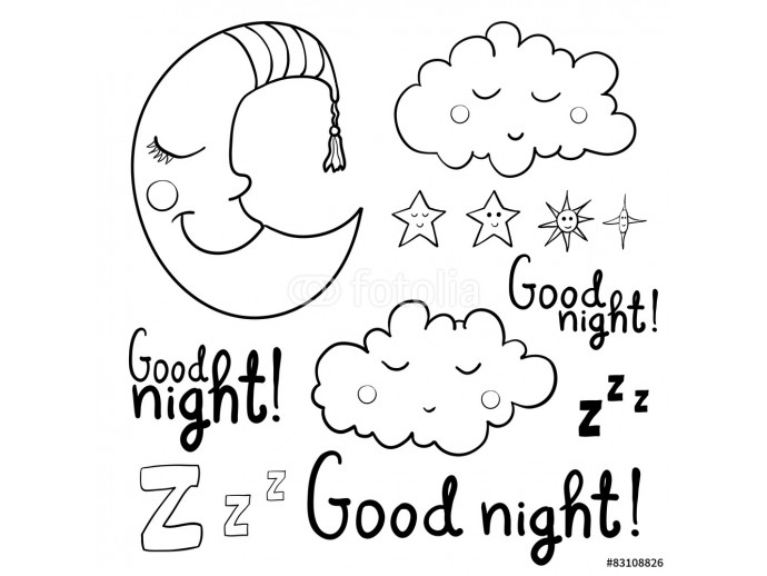 Set of contour images about sleeping for coloring. Good night! 64238