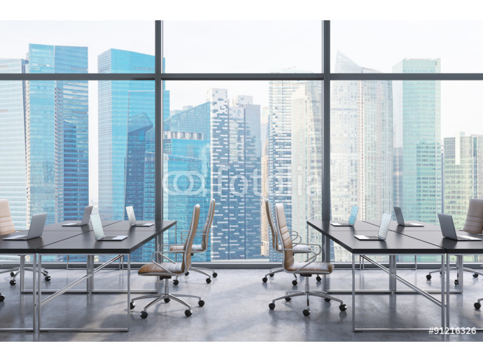 Workplaces in a modern panoramic office, Singapore city view from the windows. Open space. Black tables and brown leather chairs. A concept of financial consulting services. 3D rendering. 64238