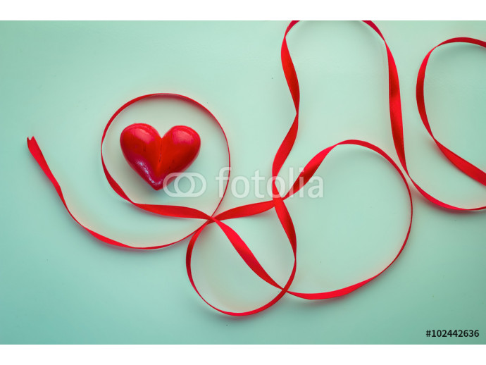 red ribbon and hearts objects 64238