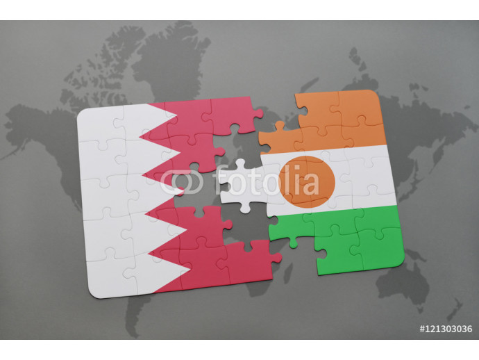 Vliestapete puzzle with the national flag of bahrain and niger on a world map background. 64238