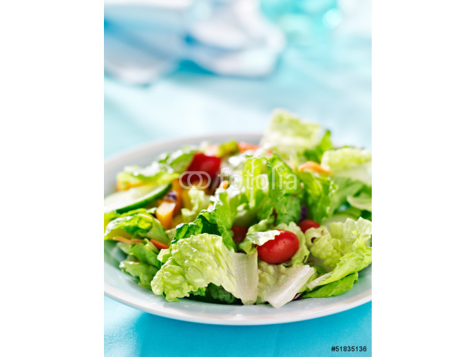garden salad with fresh vegetables with copy space composition 64238