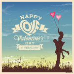 Valentine's day card with romantic couple vector background 64238