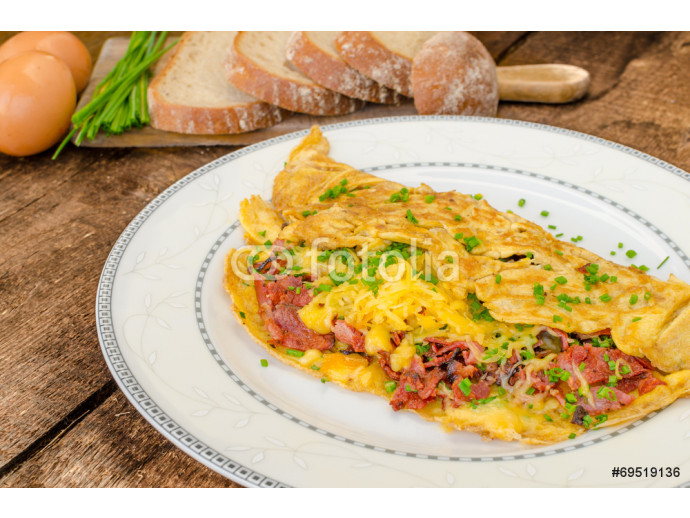 Omelet with bacon and cheese 64238