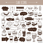 Cute hand drawn cafe icons 64238