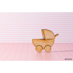 Wooden icon of baby carriage on pink striped background 64238