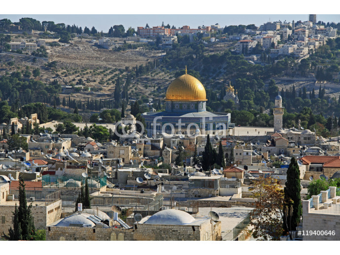 View of the city of Jerusalem, Temple Mount and Dome of the Rock from the top of the Jerusalem Citadel or Tower of David. 64238
