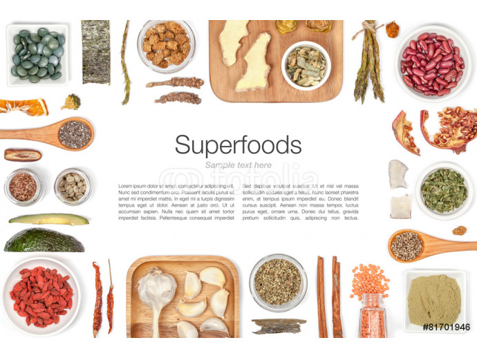 Fotomural decorativo various superfood on white background top view 64238