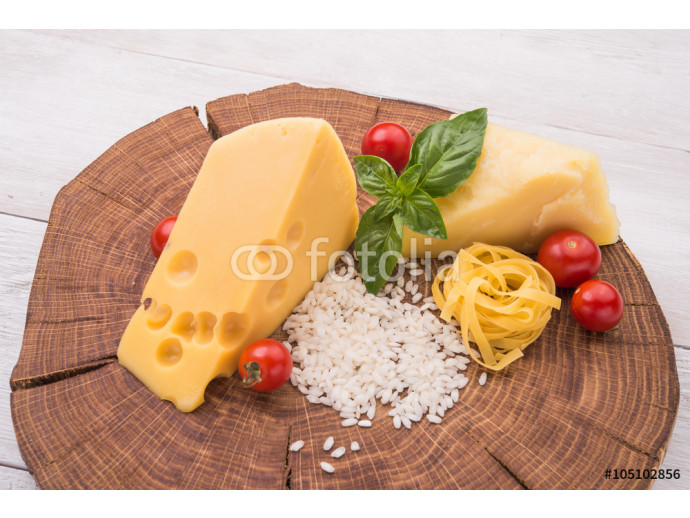 raw pasta, green basil and chesse 64238