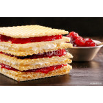 Yellow waffle with cottage cheese and jam 64238
