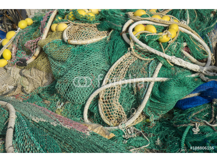 rigs and fishing nets with a port in Mallorca, Spain. Detail of 64238