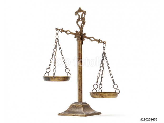 Justice Scale on white background 64238