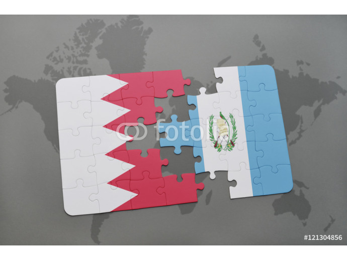 Vliestapete puzzle with the national flag of bahrain and guatemala on a world map background. 64238