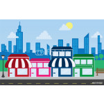 Store front strip mall stores and city skyline 64238