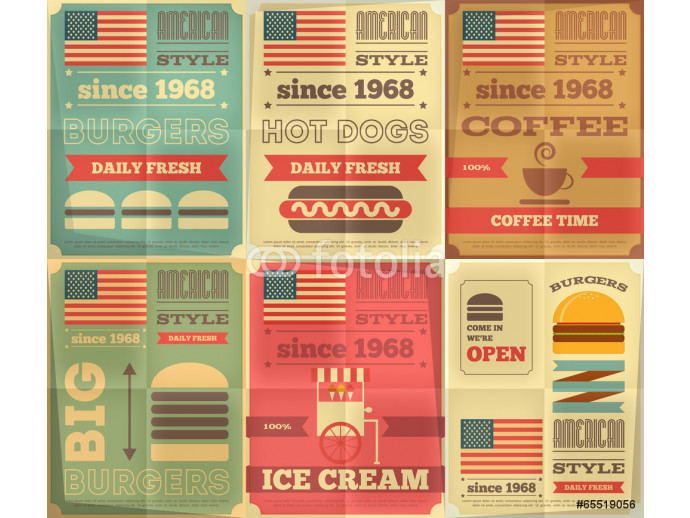 Wallpaper fast food posters collection 64238