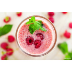 Delicious milk shake, raspberry smoothie, top view, close-up 64238