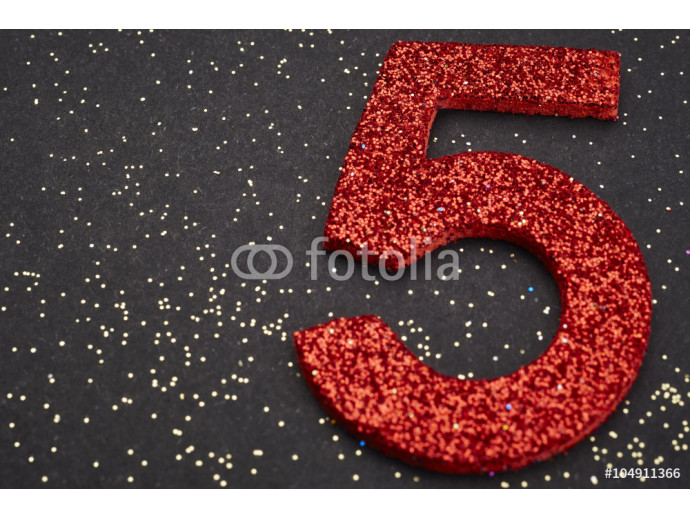 Number five red color over a black background. Anniversary 64238