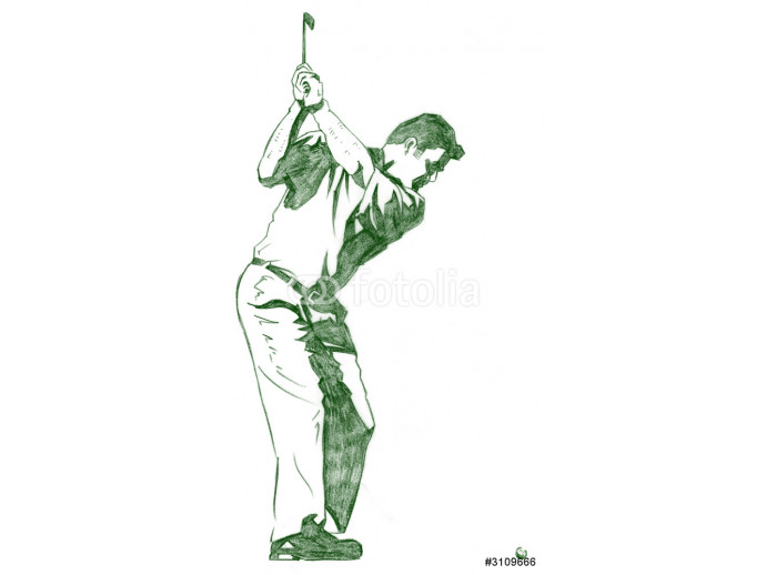 the golf swing pose - one of a series of instructional illustrat 64238