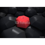 Red umbrella standing out from background of black umbrellas 64238