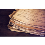 Music sheets on wooden background 64238