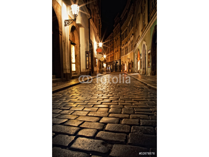 Wallpaper narrow alley with lanterns in Prague at night 64238