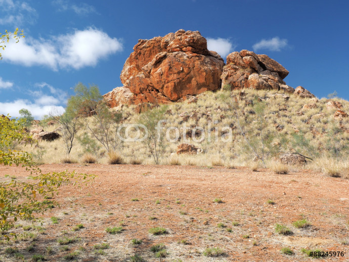 Deep red outback rock formation near Alice Springs, Australia, June 2015 64238