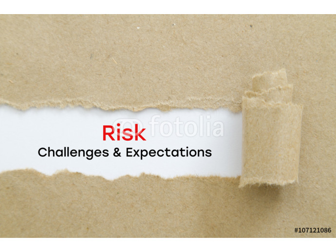 Risk - Challenges and Expectations written under torn paper. 64238