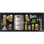 Beer set with two hands holding glasses mug and tap, can, keg, bottle. 64238