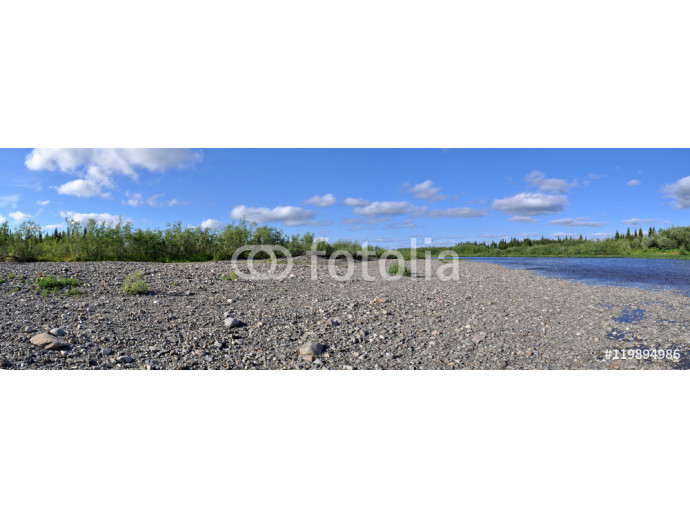 Panoramic river landscape in the polar Urals. 64238