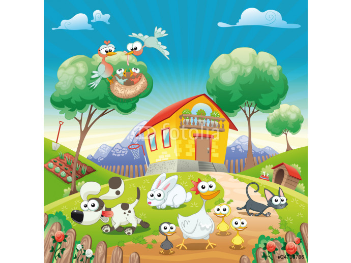 Home with Animals. Cartoon and vector illustration. 64238