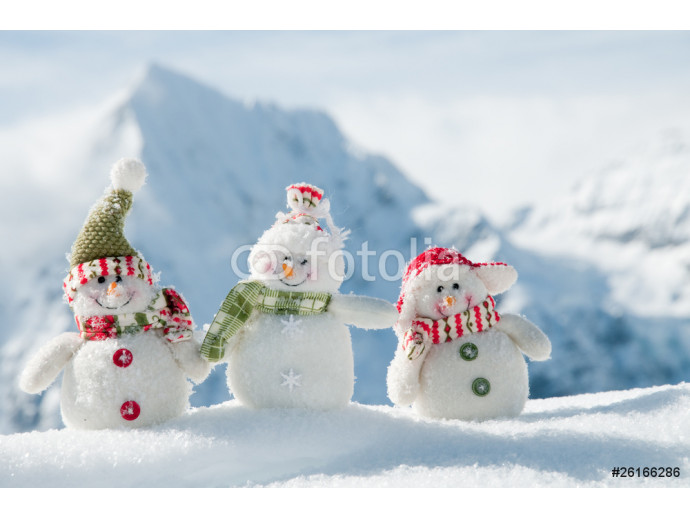 Happy snowmans in mountain 64238