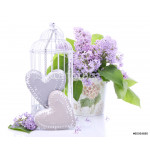 Beautiful decoration with bouquet of flowers and hearts 64238