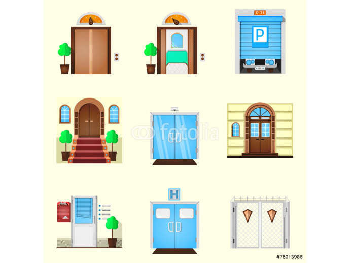 Stylized colorful vector icons for door 64238