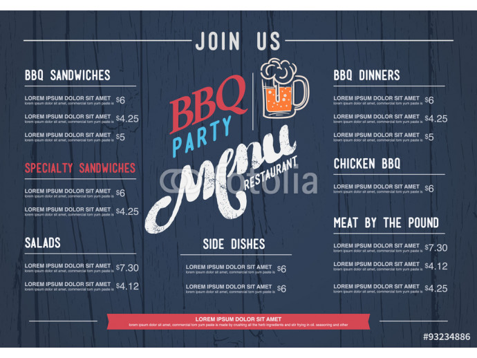 Fotomural decorativo BBQ  menu restaurant template and wood texture background.. 64238