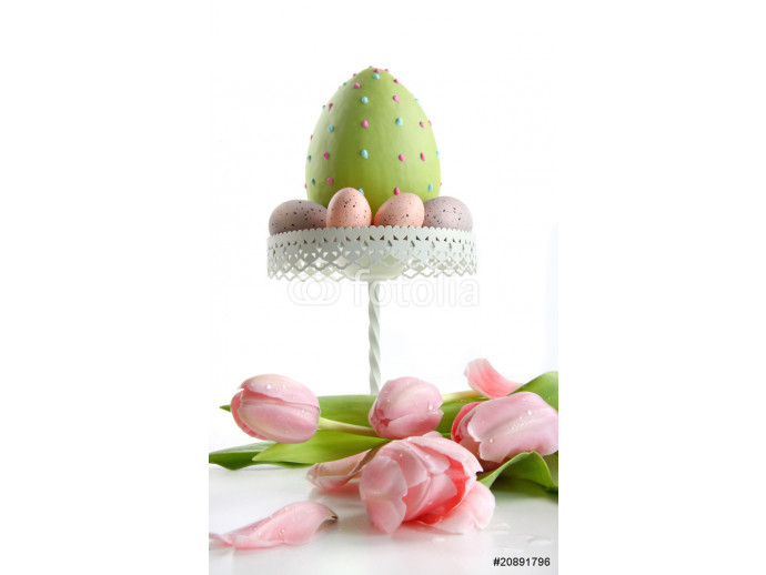 Large easter egg with pink tulips 64238