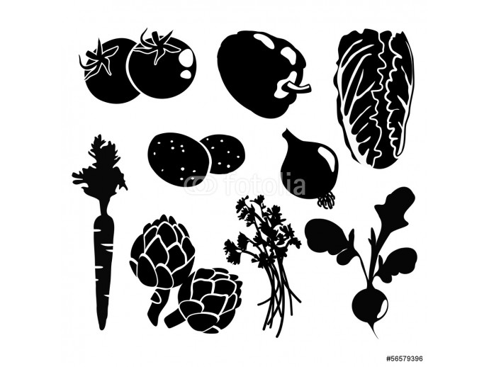 Black isolated vegetables icons, vector silhouettes 64238